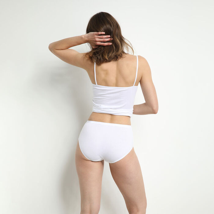 Pack of 2 pairs of organic cotton maxi knickers in black and white, , DIM