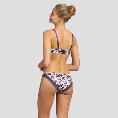 Dim Satin Line satin and lace floral print panties, , DIM