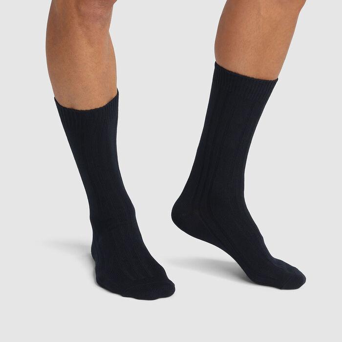 Lot de 2 paires de chaussettes homme hautes en viscose Noir Dim Bambou, , DIM