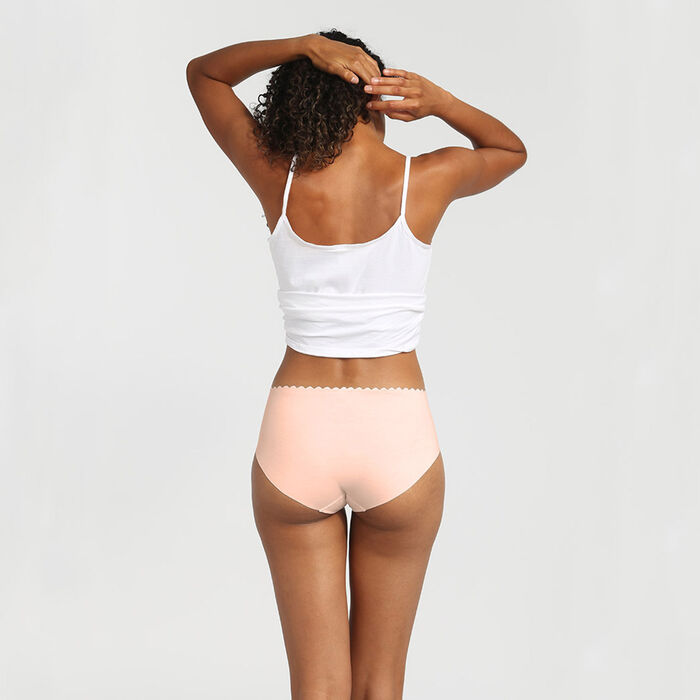 Body Touch pack of 2 cotton high-waist briefs chocolate/nude, , DIM