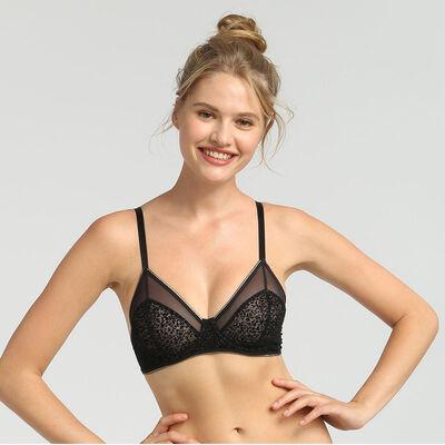 Chic Line precious black tulle and velvet underwired balconette bra, , DIM