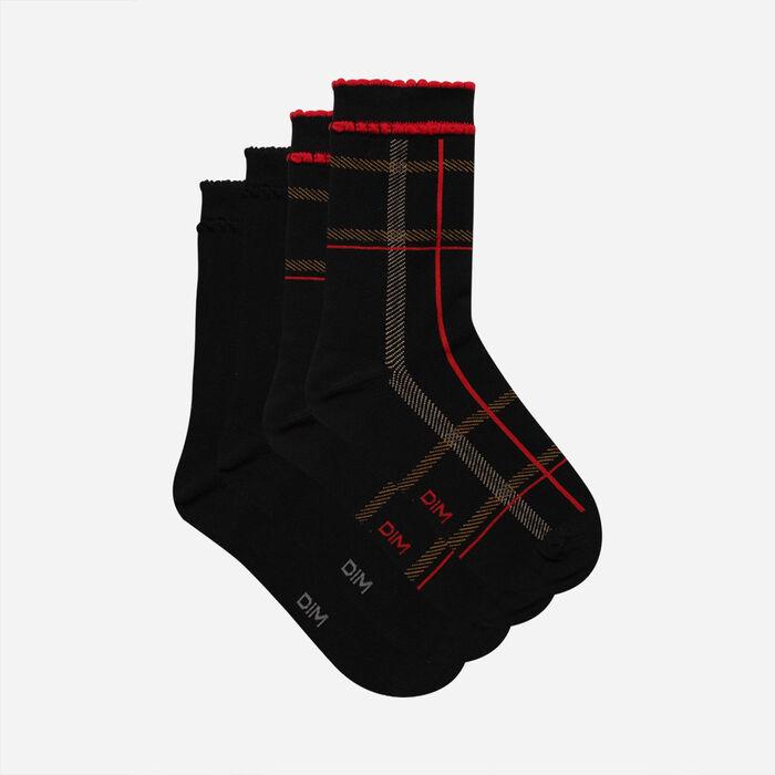 Pack of 2 Pairs of Women's Tartan Socks Red Black Cotton Style, , DIM