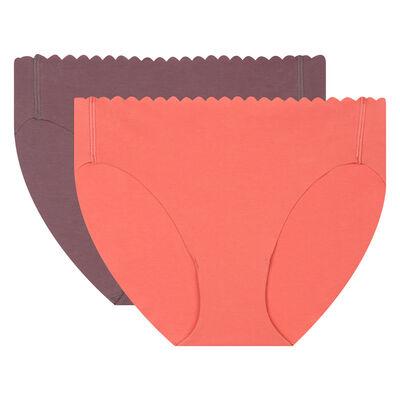 Lot de 2 culottes corail brun et gris sombre Body Touch Coton, , DIM
