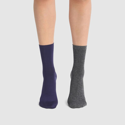 Dim Skin pack of 2 pairs of women's microfibre socks Eclipse Blue, , DIM