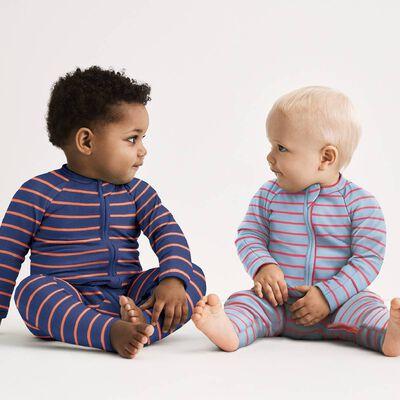 Cotton Stretch Zipped Pyjama with orange and grey stripes Dim Baby, , DIM