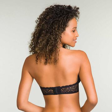 Women's black full cup lace bandeau Sublim Dentelle , , DIM