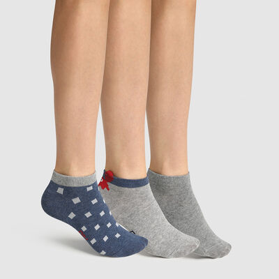 Pack of 3 pairs of grey crab print children's socks Cotton Style, , DIM