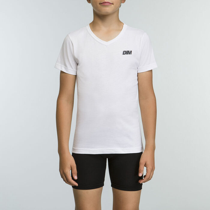 White Tee-shirt for boy 100% cotton Basic Sport, , DIM