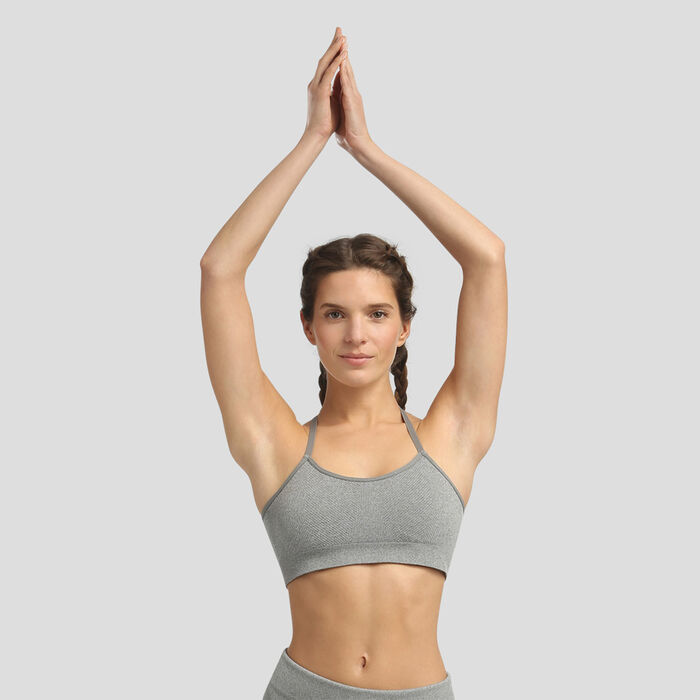 Minimum support seamless grey bra Dim Sport, , DIM