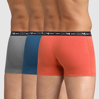 Pack of 3 men's stretch cotton trunks Red Blue Grey Volcano Dim, , DIM