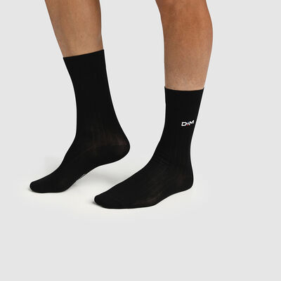 Men's Scottish thread black ribbed sock Made in France Dim, , DIM