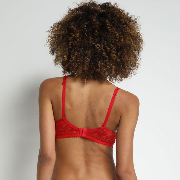 Daily Glam Floral red lace underwired bra, , DIM