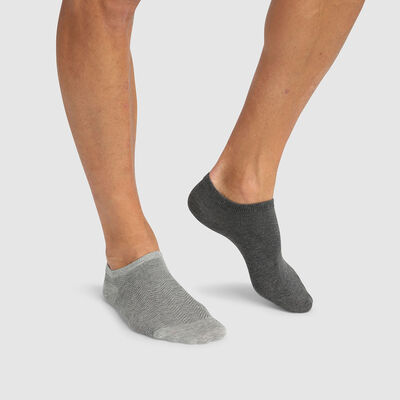 Cotton Style pack of 2 pairs of short socks with herringbone print Grey, , DIM