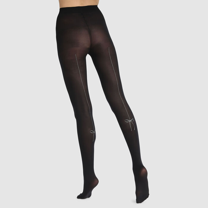 Dim Style 40D black fancy tights with silver bows, , DIM