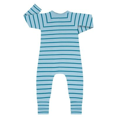 Zipped Pyjama in Cotton Stretch with blue and green stripes Dim Baby, , DIM