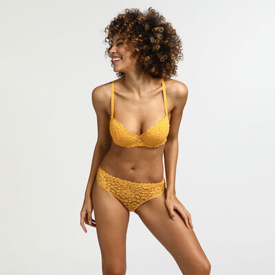 Dim Blooming Lace golden yellow lace push-up balconette bra, , DIM