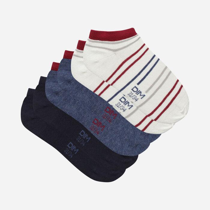 Lot de 3 paires de socquettes enfant tempête Bleu Marine Coton Style, , DIM