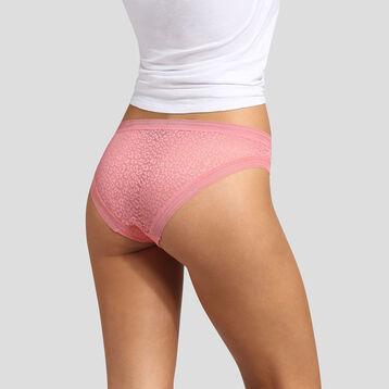 Coral pink microfiber brief with leopard print lace Dim Dotty Mesh Panty Box, , DIM