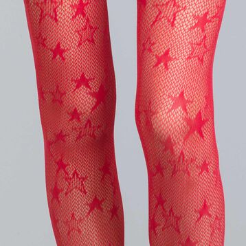 Style 73 intense red star fishnet tights - DIM