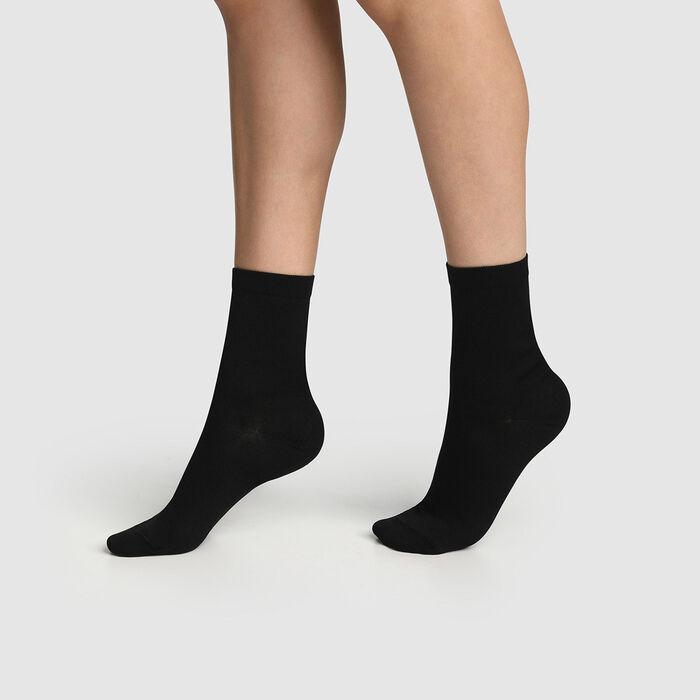 Lot de 2 paires de chaussettes femmes Noir Coton Mercerisé, , DIM