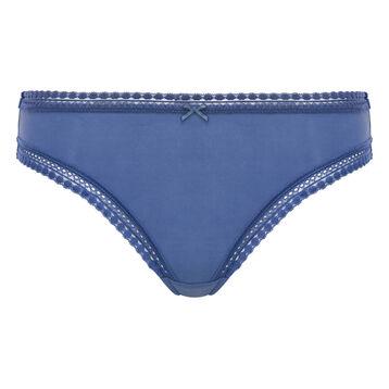 Culotte Bleu Porcelaine en microfibre femme Micro Lace Bar à Culottes, , DIM