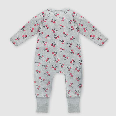 Dim Baby Grey stretch cotton baby pyjamas with cherry print zipper, , DIM