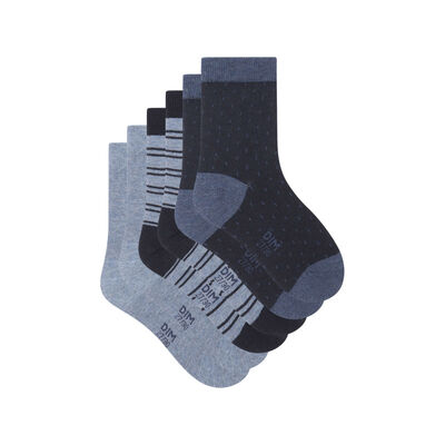 Pack of 3 pairs of socks with polka dots and Denim Kids Cotton Style lines, , DIM