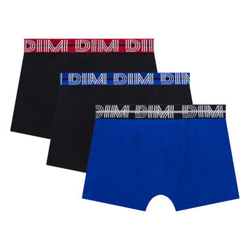 3 pack black and acqua blue trunks for Boy - Coton Stretch, , DIM