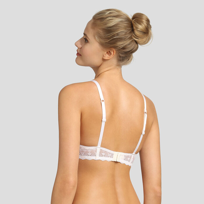 Pearly white graphic lace push-up triangle bra Daily Glam, , DIM