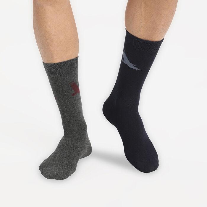 """Набор 2 шт.: мужские хлопковые носки голубого цвета с принтом """"Орёл"""" Style, , DIM"""