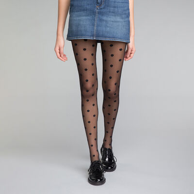 Big dots pattern Black 20 Tights - Dim Style, , DIM