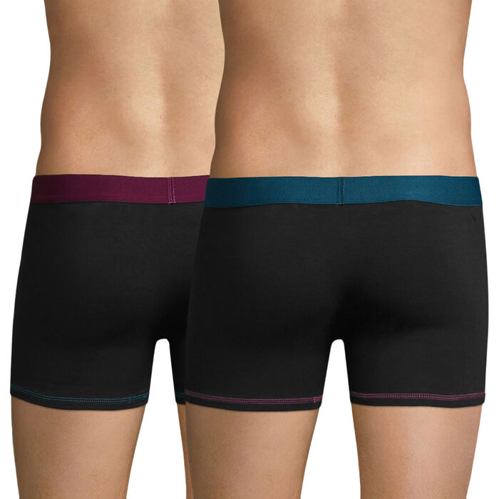 Lot de 2 boxers noirs ceintures colorés Mix & Colors-DIM