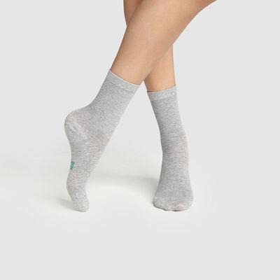 Набор 2 шт.: серые женские носки из натурального хлопка Green by Dim, , DIM
