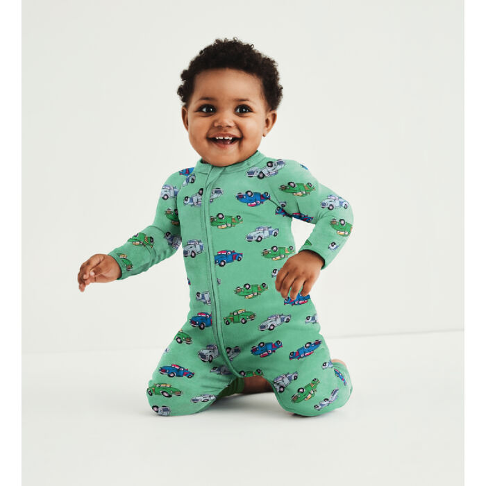 Dim Baby Zip-up baby pyjamas in green cotton stretch cotton with truck print, , DIM