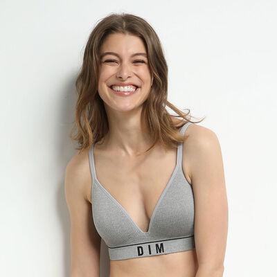 Original Retro Heather grey padded triangle bra without underwiring, , DIM