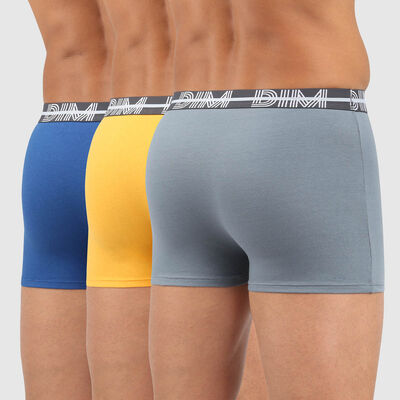 Dim Powerful pack of 3 stretch cotton trunks with graphic waistband in blue, , DIM
