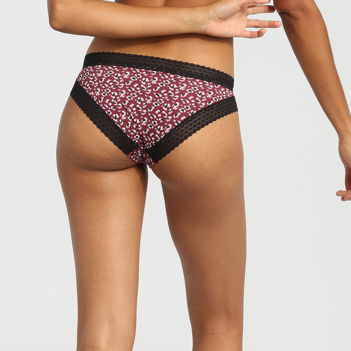 Dim Trendy Micro wild print microfibre and lace briefs, , DIM