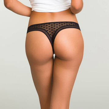 Black women's polka dot mesh thong Dotty Mesh Panty Box, , DIM