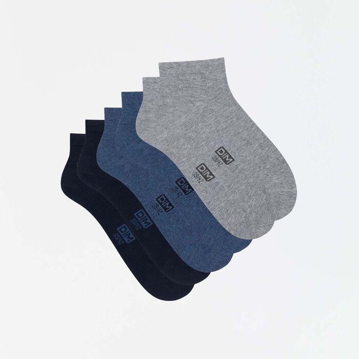 Lot de 3 paires de socquettes courtes hommes bleu gris Basic Coton, , DIM