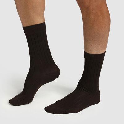 Набор 2 шт.: коричневые мужские носки из лиоцелла с ребристым узором Green by Dim, , DIM