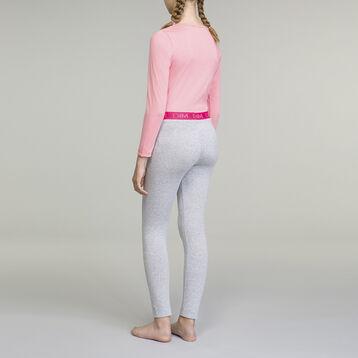 DIM Girl 2-piece long-sleeved pyjama pack Crocus Pink and Grey, , DIM