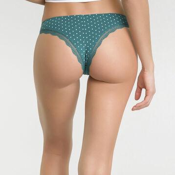 Tanga brésilien coton vert imprimé triangles ivoire - Table Panties, , DIM