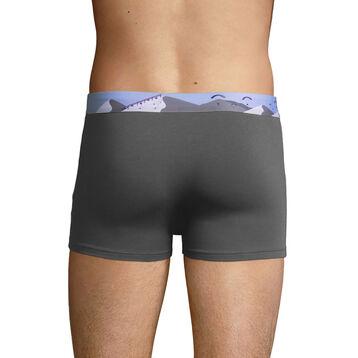 Stretch cotton trunks with printed waistband Dark Grey, , DIM