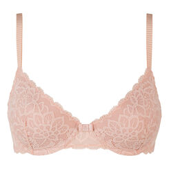 Dim Sublim Lace nude pink push-up balconette bra , , DIM
