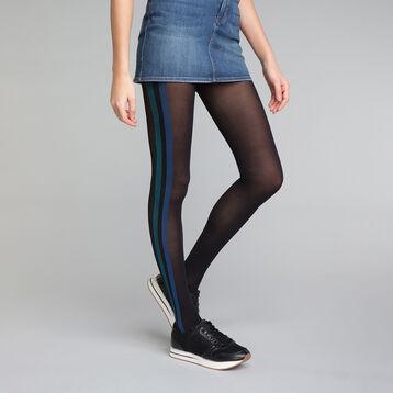 Collant fantaisie sporty look noir et bleu 40D - DIM Style, , DIM