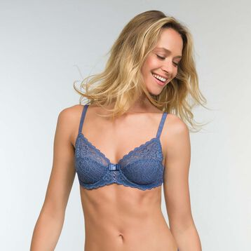 Porcelain Blue Full-Cup Bra Sublim Dentelle, , DIM