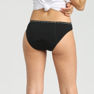 Black washable period brief in cotton - heavy flow Dim Protect, , DIM