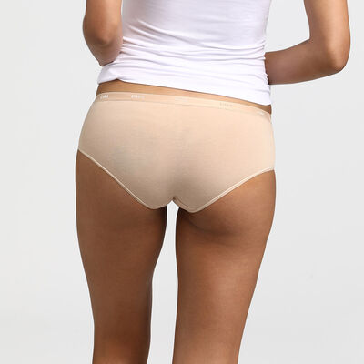 Pack of 3 pairs of Les Pockets Coton boyshorts in white/nude/black, , DIM