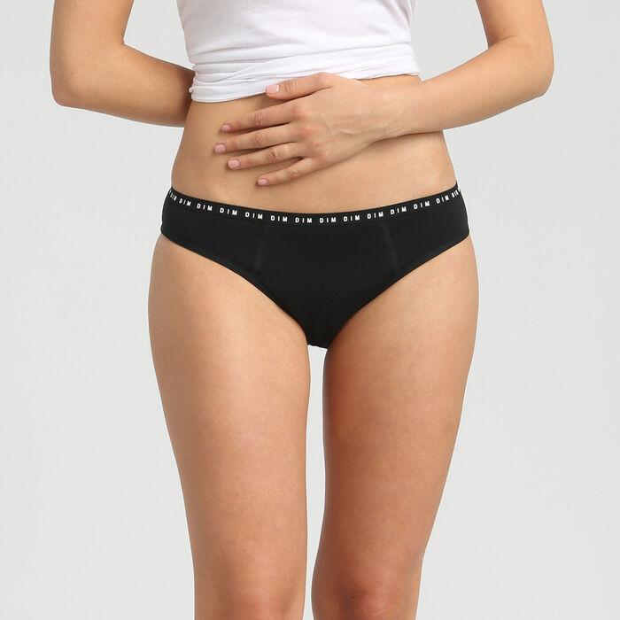 Braguita menstrual lavable de algodón bio* negra-flujo abundante Dim Protect, , DIM