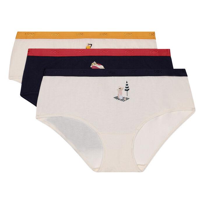 Lot de 3 boxers en coton stretch imprimé dolce vita Les Pockets de Dim, , DIM